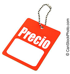 """price tag with the Spanish """"price"""" word and copy space for the sum of money"""