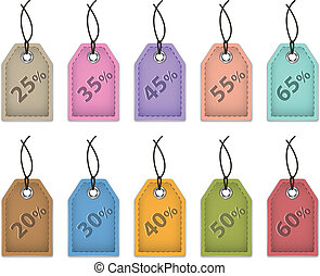Colorful price tags for sale. Shopping labels made of leather. Vector