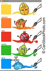 primary colors with cartoon fruits