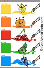 Cartoon Illustration of Primary Colors with Funny Fruits Educational Set for Preschoolers
