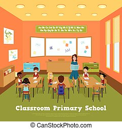 Primary school classroom template with pupils and teacher in flat style vector illustration