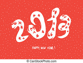 """Primitive doodle drawings of 2013 """"snake"""" year. Vector background, EPS 8."""