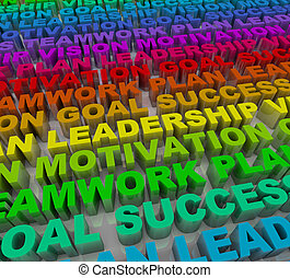 Many words representing principles of success in colorful lettering