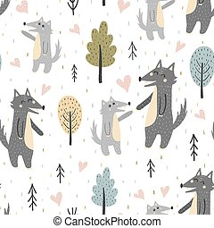 Print Cute mother wolf with her baby pup seamless pattern