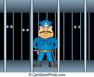 Prison proctor. Background Illustration