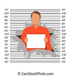 Prisoner in police lineup backdrop, illustration, vector.