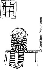Prisoner sitting on the bench in the ward