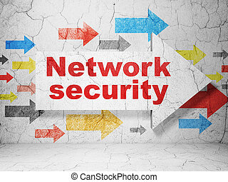 Privacy concept: arrow with Network Security on grunge wall background