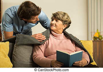 Image of male private carer and his patient