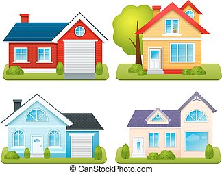 Private houses family town apartments village cottages emblems set isolated vector illustration