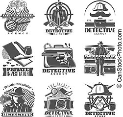 Isolated vintage detective labels set with old fashioned accessories mask and investigation symbols on blank background vector illustration