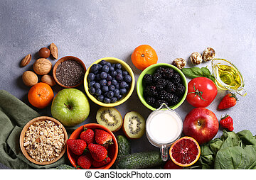 products mix for healthy eating fruits vegetables superfoods