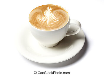 professional barista coffee cup isolated over white