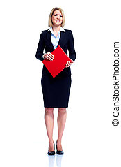 Professional business woman with red folder. Isolated over white background.
