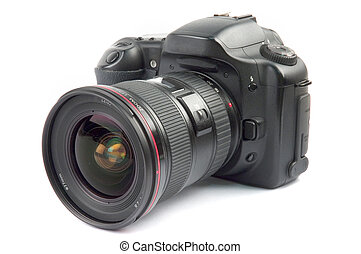 Professional digital camera with zoom lens over white background
