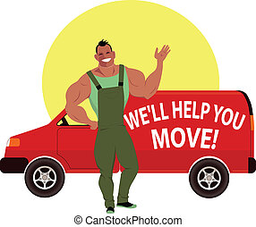 Muscular happy guy in overalls standing in front of a red moving van with sign saying We will help you move, vector cartoon