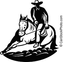 Professional Rodeo Cutting Horse Competition Retro Black and White