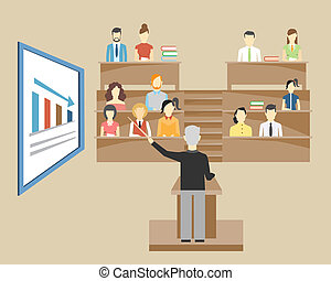 Professor standing in the front of the class at a lectern lecturing to students at university who are sitting in tiered seats facing the viewer illustration