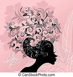 Profile of a girl with hair decorated with flowers