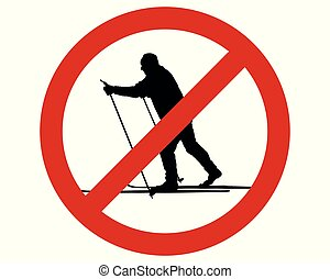 Prohibition sign for cross-country skiing