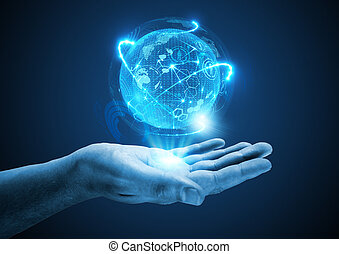 Projecting The Future. A hand holding a holographic projection.