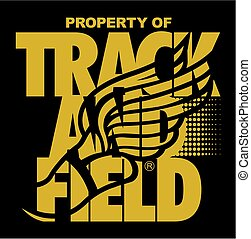 property of track and field team design with winged foot for school, college or league
