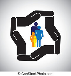 protection or safety of family of father, mother, kids concept vector. The graphic also represents family health insurance, accident insurance, etc