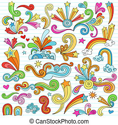 Psychedelic Groovy Notebook Doodle Design Elements Set