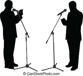 silhouettes of men public speaking - vector