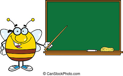 Pudgy Bee In Front Of Blackboard