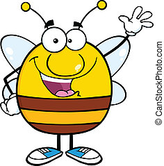 Pudgy Bee Waving For Greeting