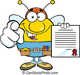Pudgy Bee Worker Holding A Contract