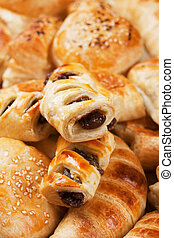 Puff pastry with chocolate cream filling, selective focus