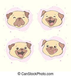 Pug dog cartoon set