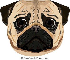 cute pug face vector illustration