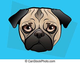 Pug Dog Face on a Blue Background