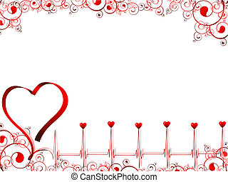 pulse of love illustration with heart, swirls and copyspace for your text