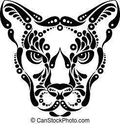 Puma tattoo, symbol decoration illustration