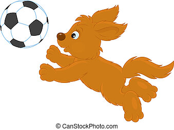 Funny brown puppy playing football, vector illustration