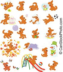 Vector illustrations of a funny brown puppy playing
