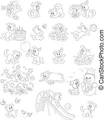 Vector illustrations of a funny puppy playing