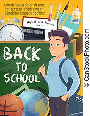 Pupil and Back to School on blackboard poster