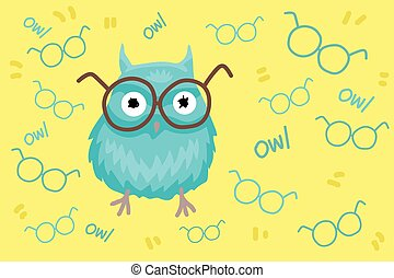Pupil owl wearing spectacles, pattern and character