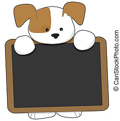 A cute brown and white puppy is holding a wooden frame blackboard, that is nearly as big as the puppy.