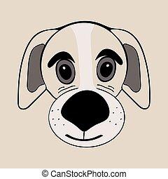 Puppy cute funny cartoon dog head