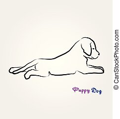 Puppy dog laying down, line art vector