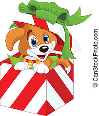 Puppy in a Christmas gift box