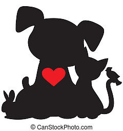 A silhouette of a group of pets including a dog, cat, rabbit and bird. There is a red heart on the dogs chest