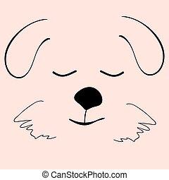 Puppy sleep cute funny cartoon dog head