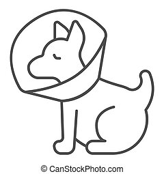 Puppy with protective collar thin line icon, animal hospital concept, Pet Elizabethan collar sign on white background, Dog protection cone icon in outline style for mobile, web. Vector graphics